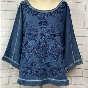 UO Ecote Denim Blue 3D Embroidered Sweater Size L